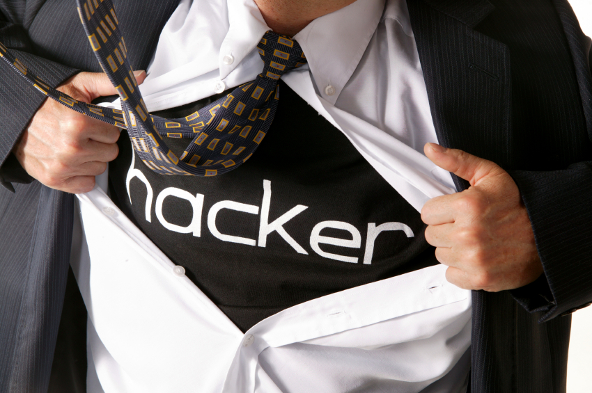 businessman opening shirt with is hands